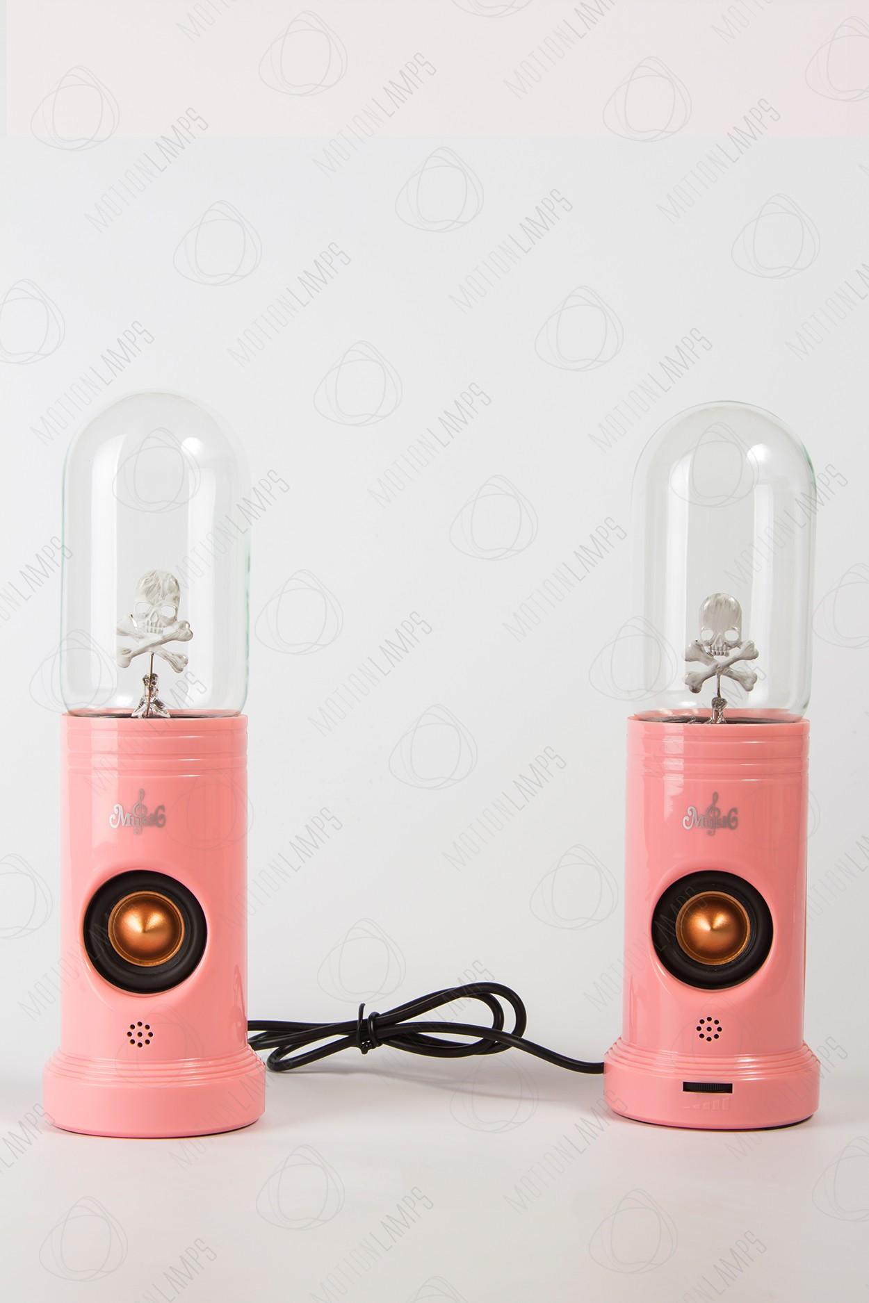 Набор из 2ух колонок с плазменным шаром Тесла Череп Pink