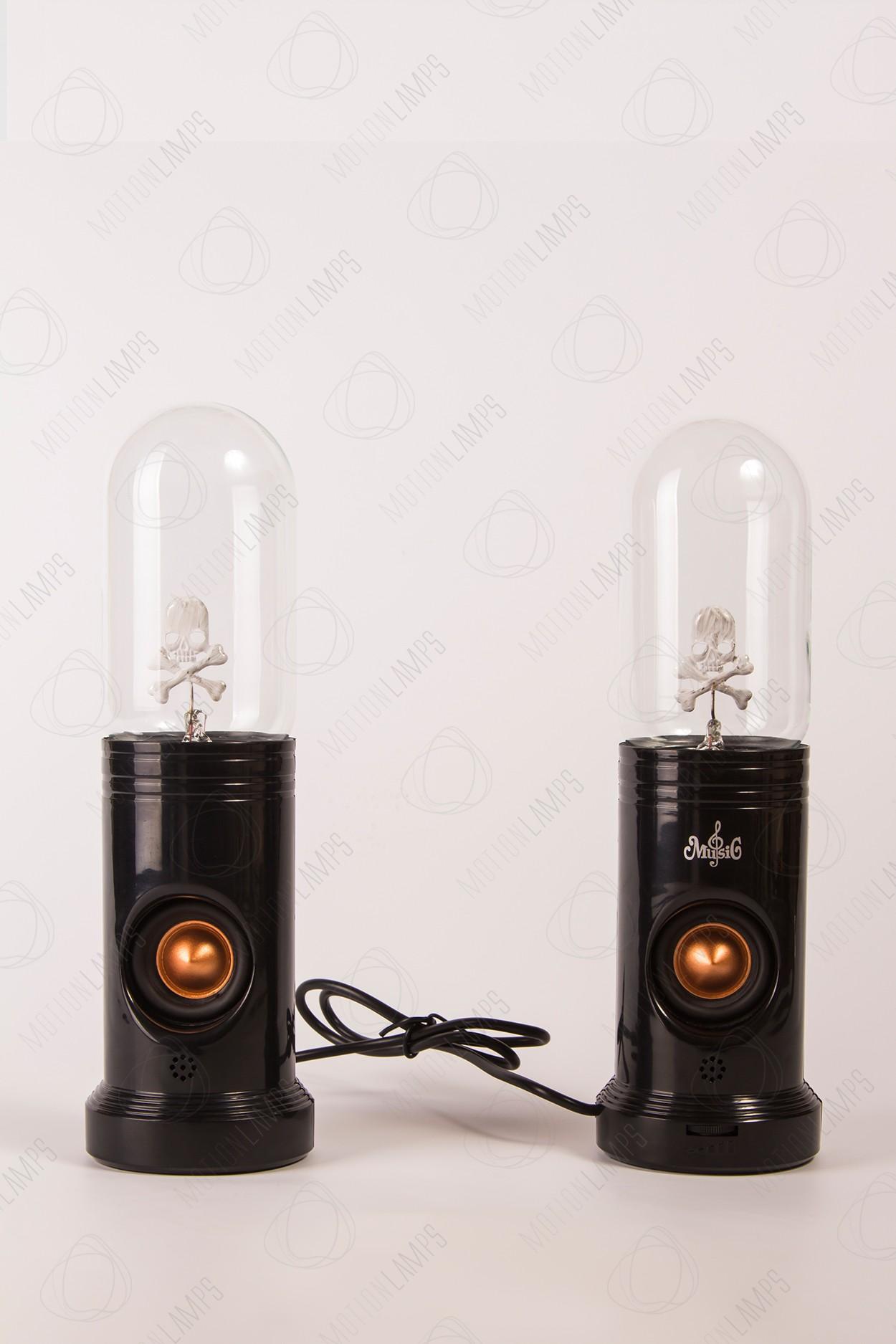 Набор из 2ух колонок с плазменным шаром Тесла Череп Black