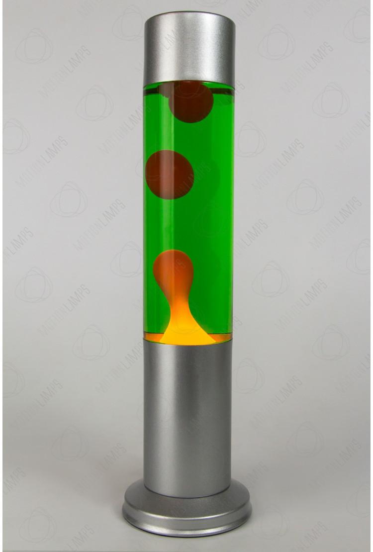 Лава-лампа 38см CL Оранжевая/Зелёная (Воск) Silver