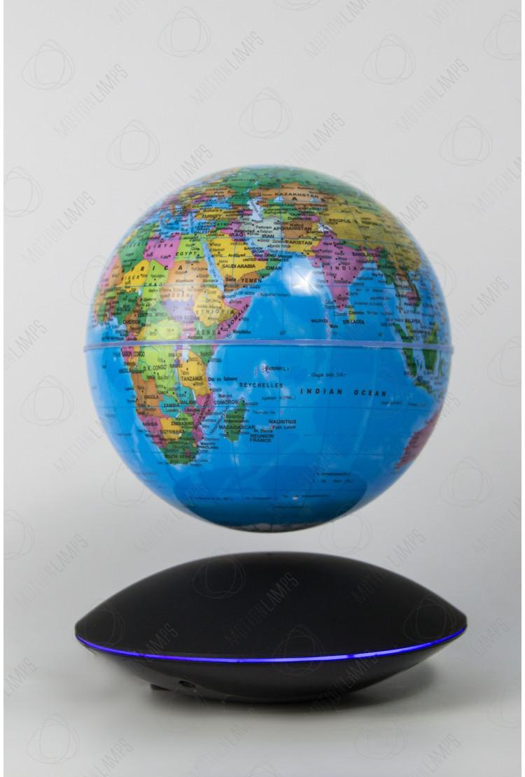 Глобус на магнитной подушке голубой (D-14см) светящийся (RGB)