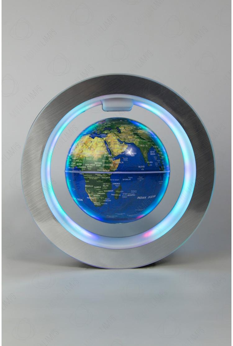 Левитирующий глобус в круглой рамке (D-14см) Синий