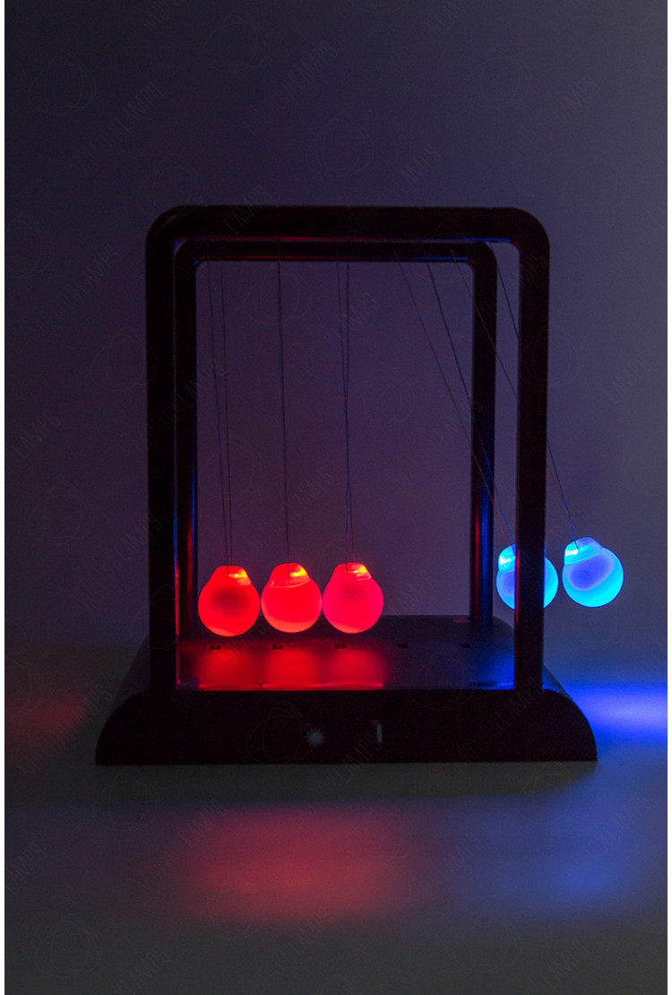 Светодинамический LED маятник Ньютона (светятся шары) 20см