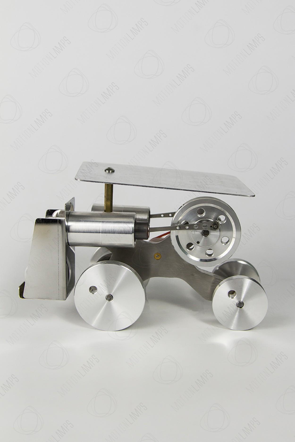 Машина Стирлинга на металлических колесах
