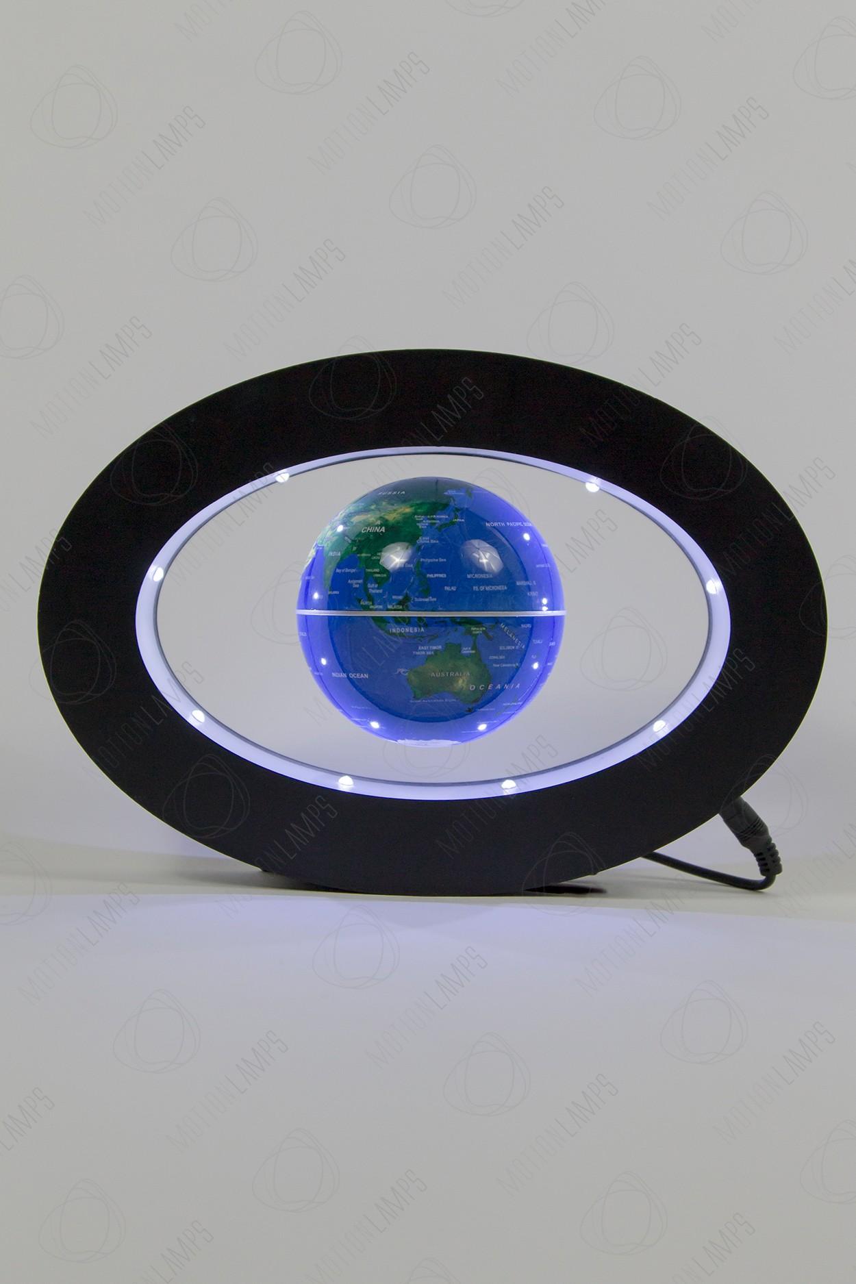 Левитирующий глобус в овальной рамке Синий (D-9cм)