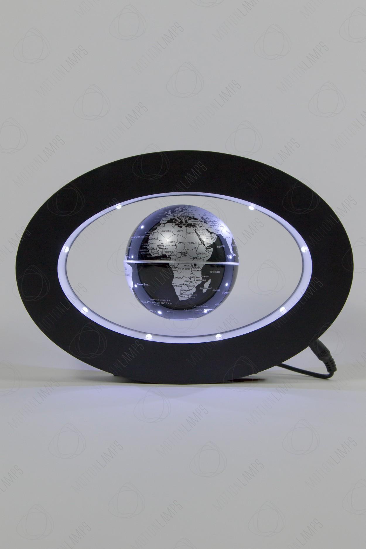 Левитирующий глобус в овальной рамке Черный (D-9cм)