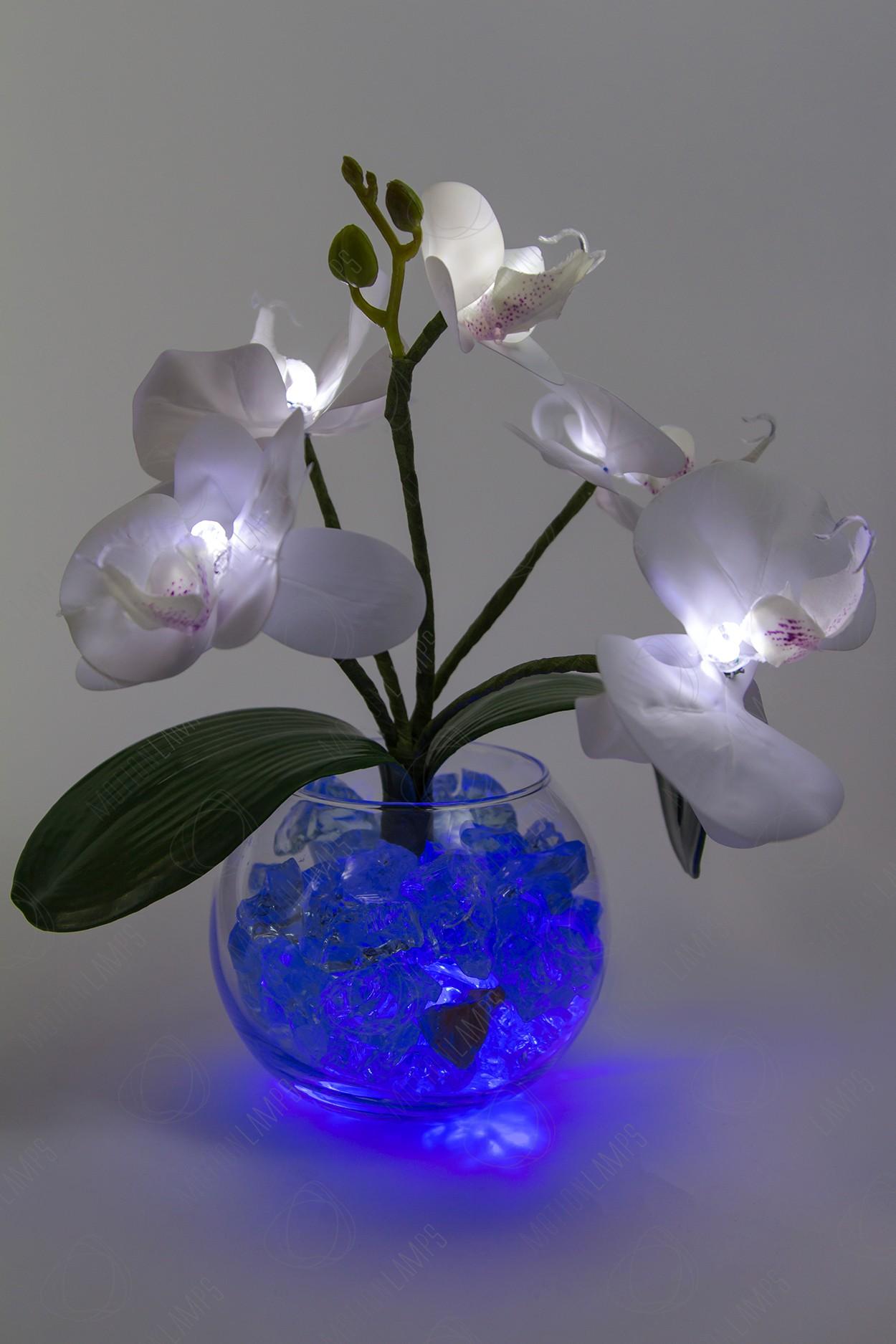 Светильник Орхидея белый(син) 5 цветков