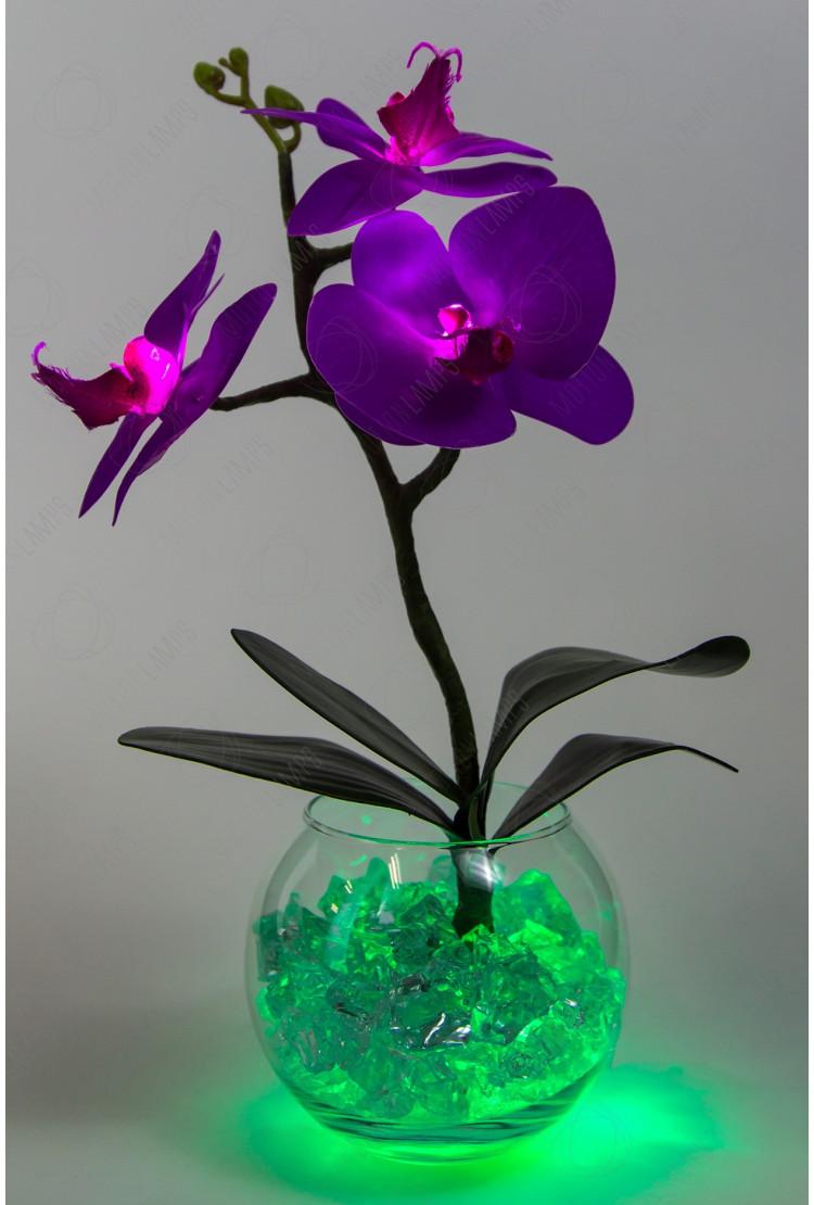 Светильник Орхидея фиолетовый 3 цветка