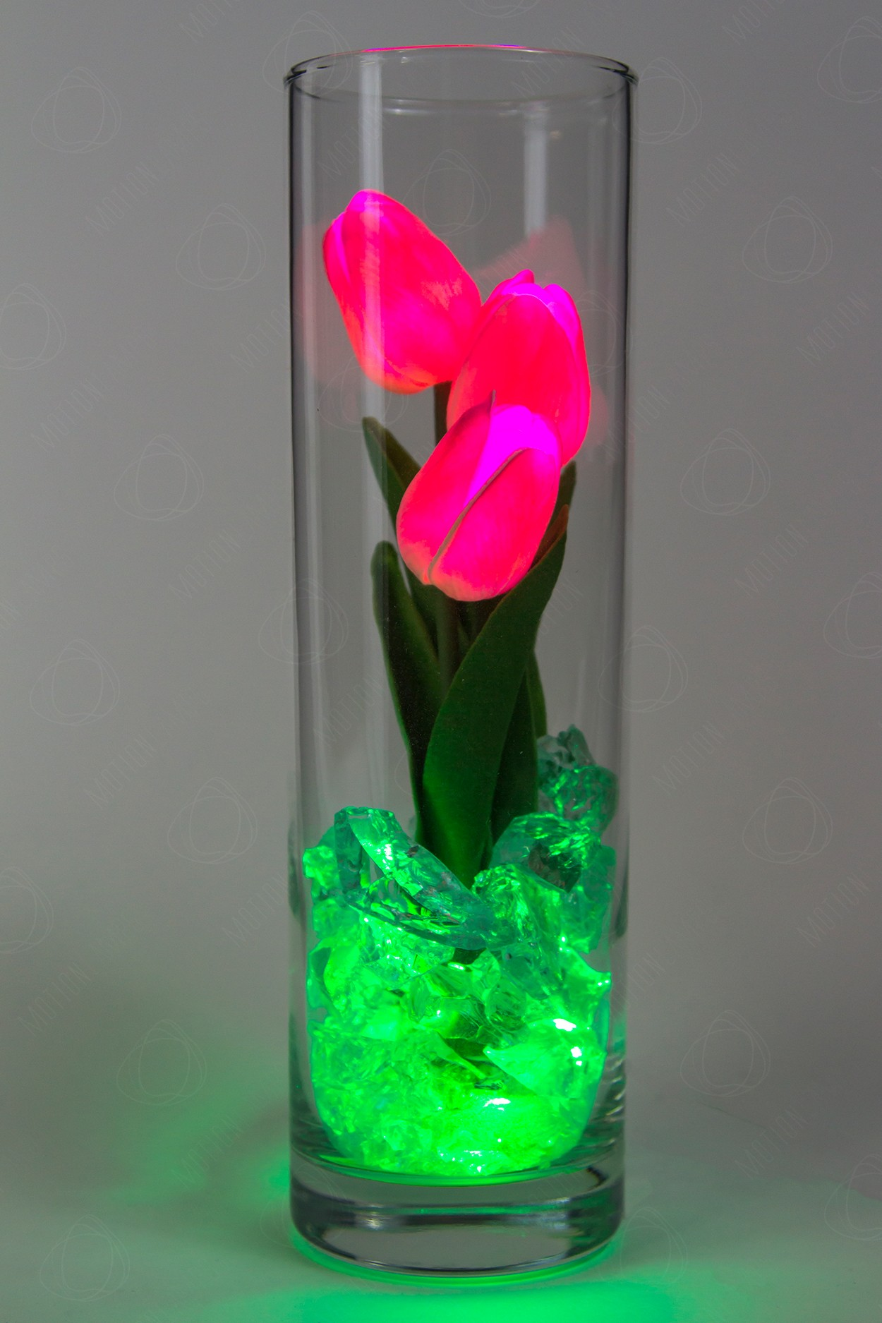 Светящиеся тюльпаны 3шт Розовые(зел)