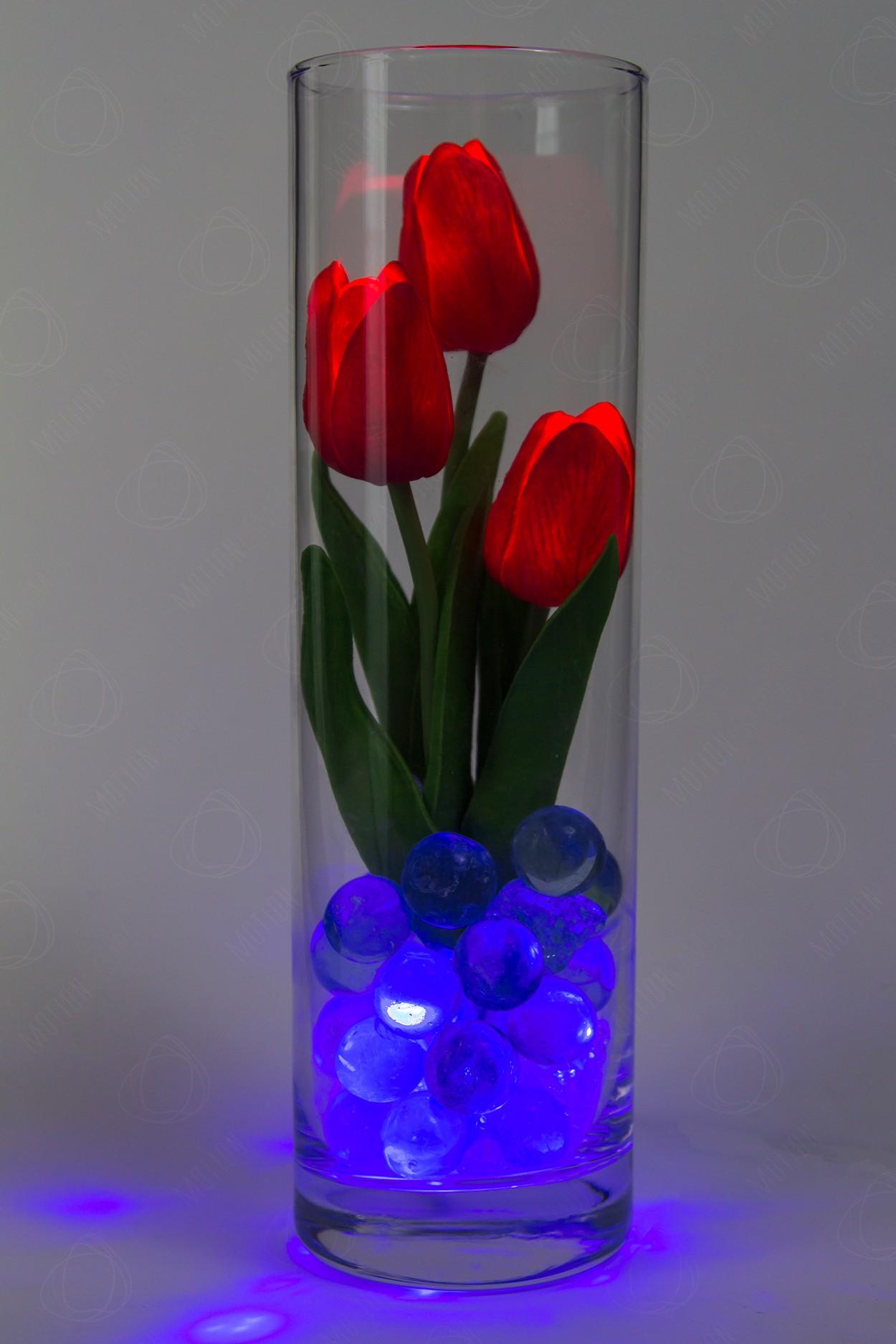 Светодиодные тюльпаны 3шт Красные(син)