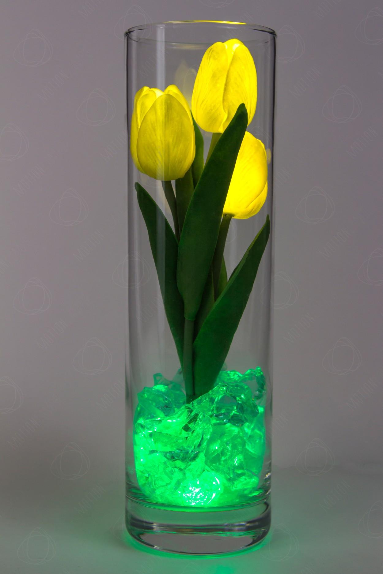 Светящиеся цветы тюльпаны 3шт Жёлтые(зел)