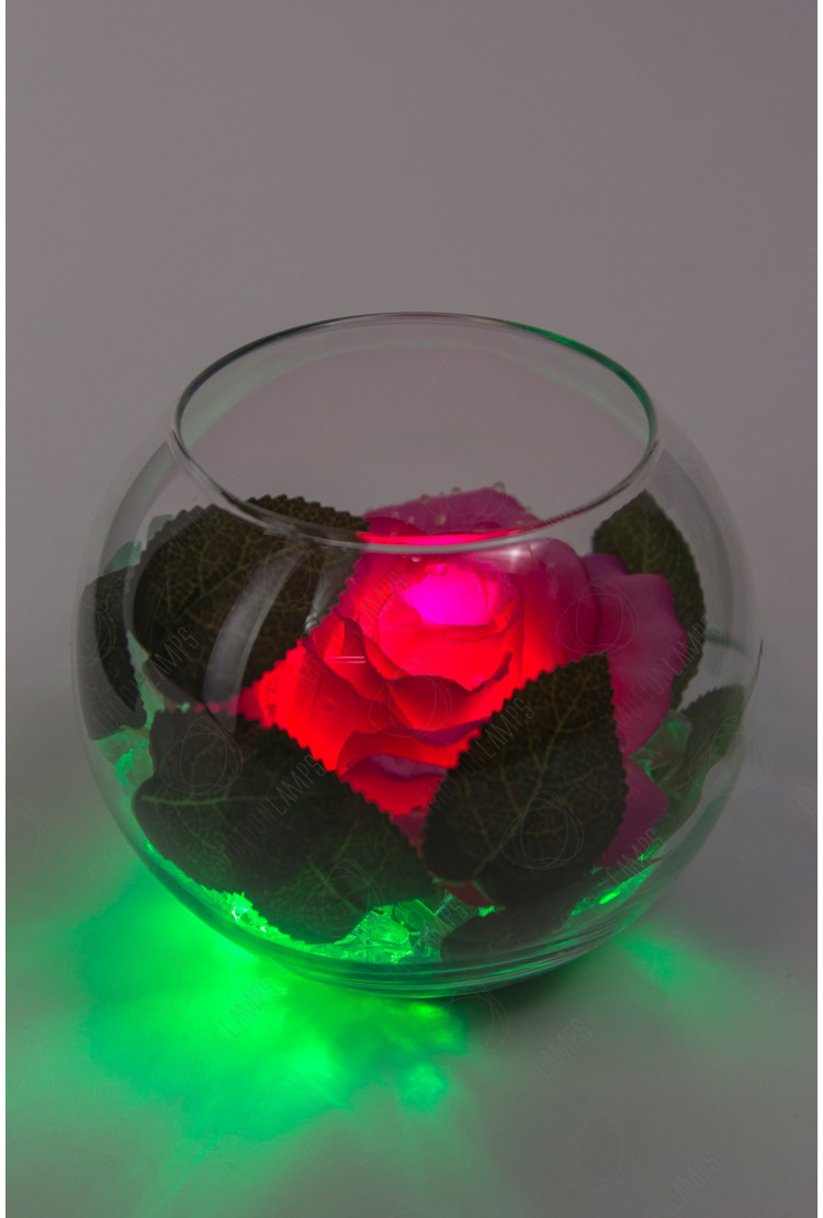 Светодиодный цветок Роза в шаре Красная (зел)