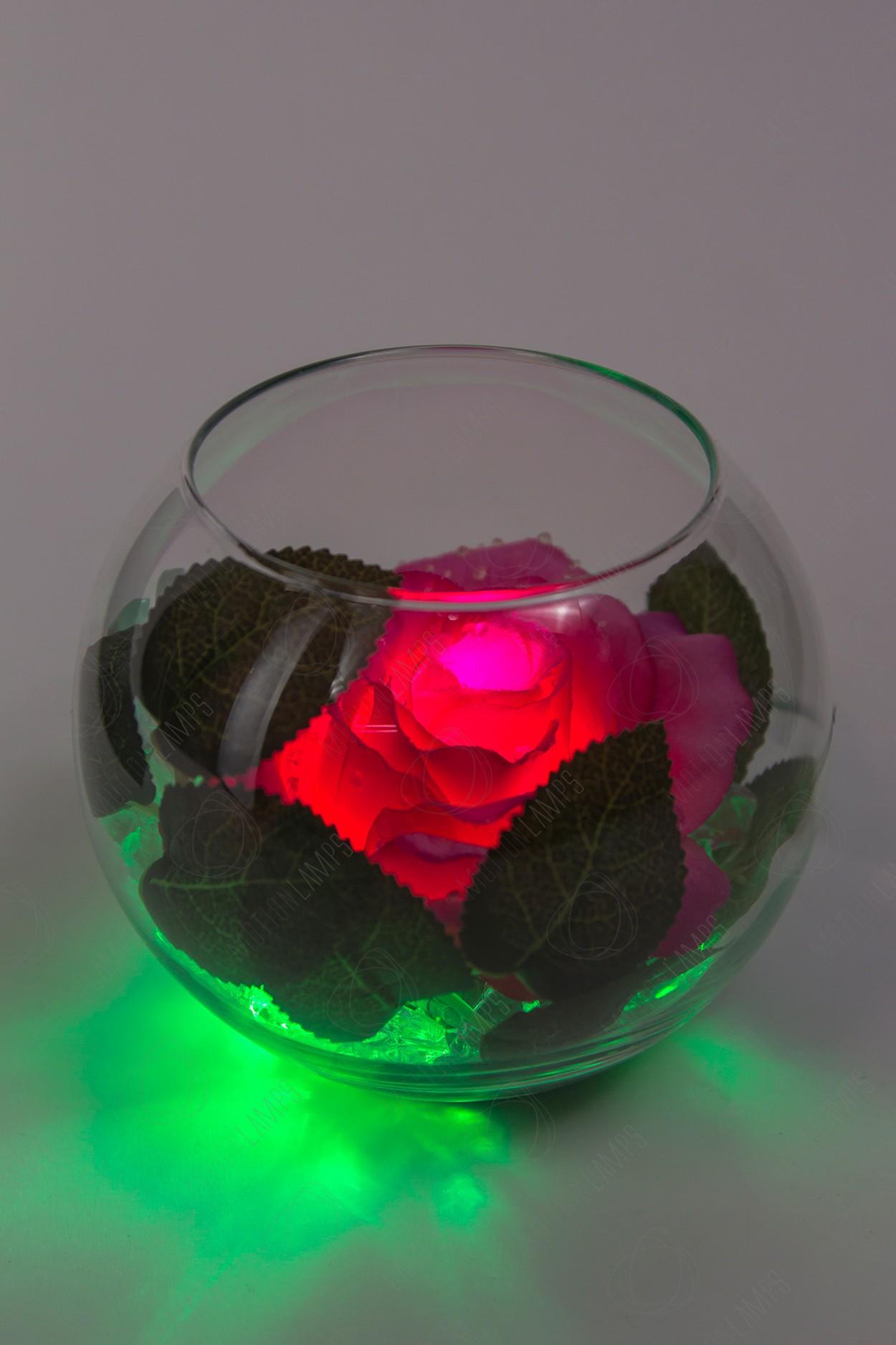 Светодиодный цветок Роза в шаре Розовая (зел)