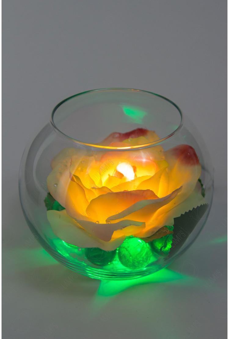 Светодиодный цветок Роза в шаре Кремовая