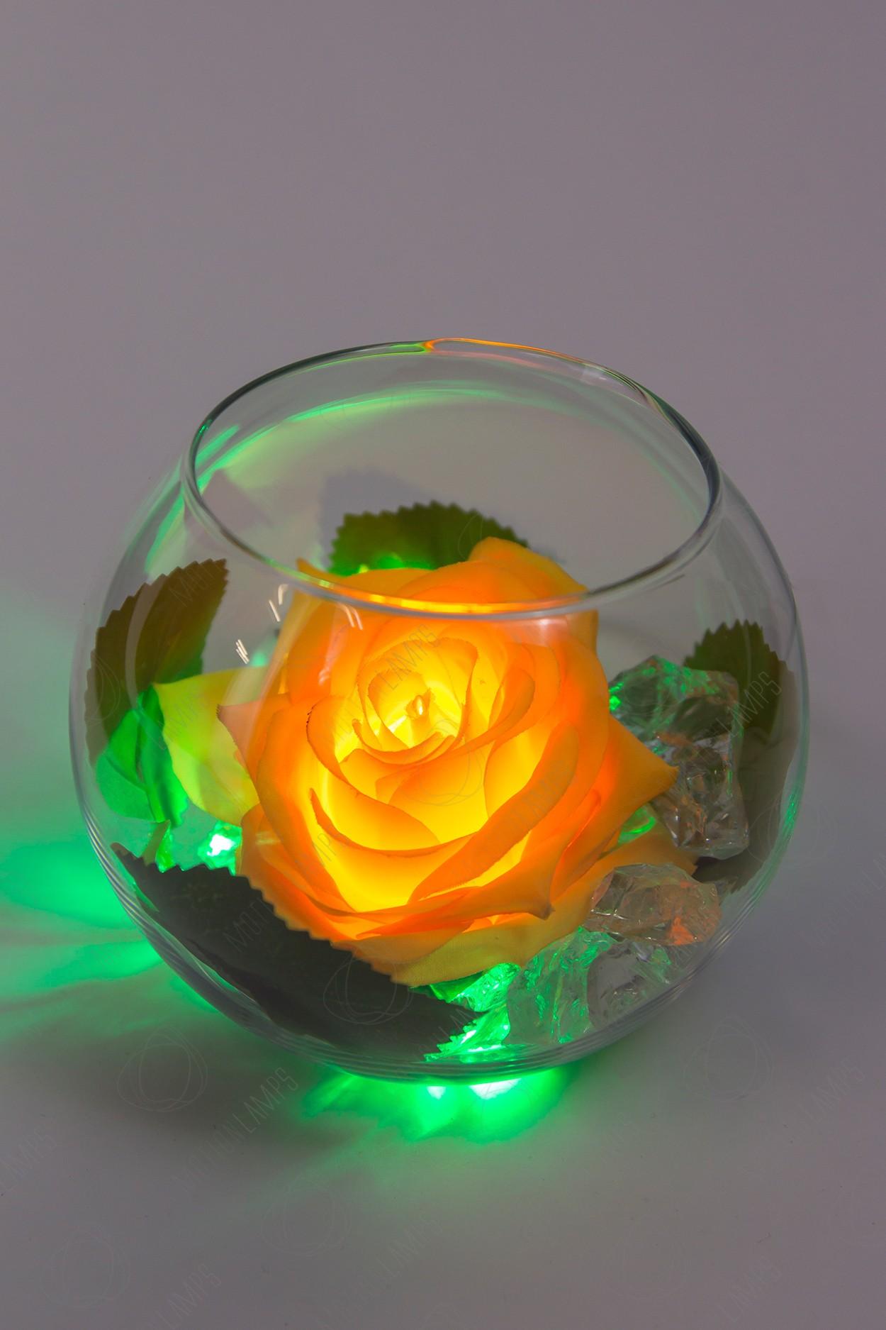 Светодиодный цветок Роза в шаре Оранжевая
