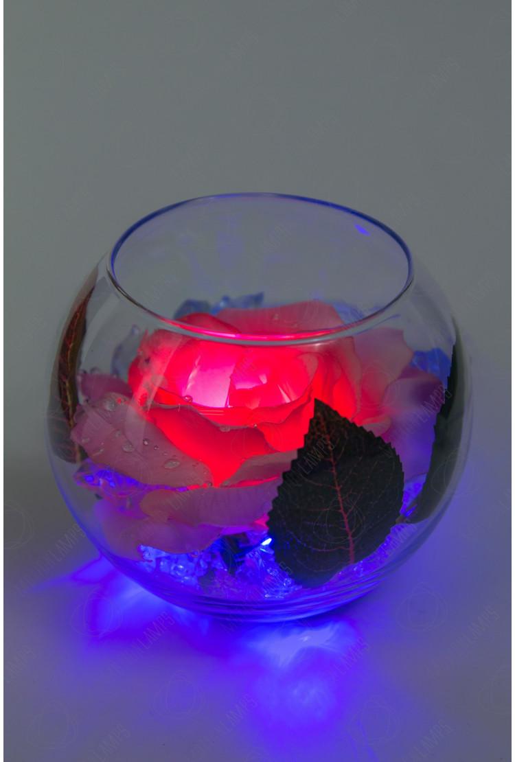 Светодиодный цветок Роза в шаре Красная (син)