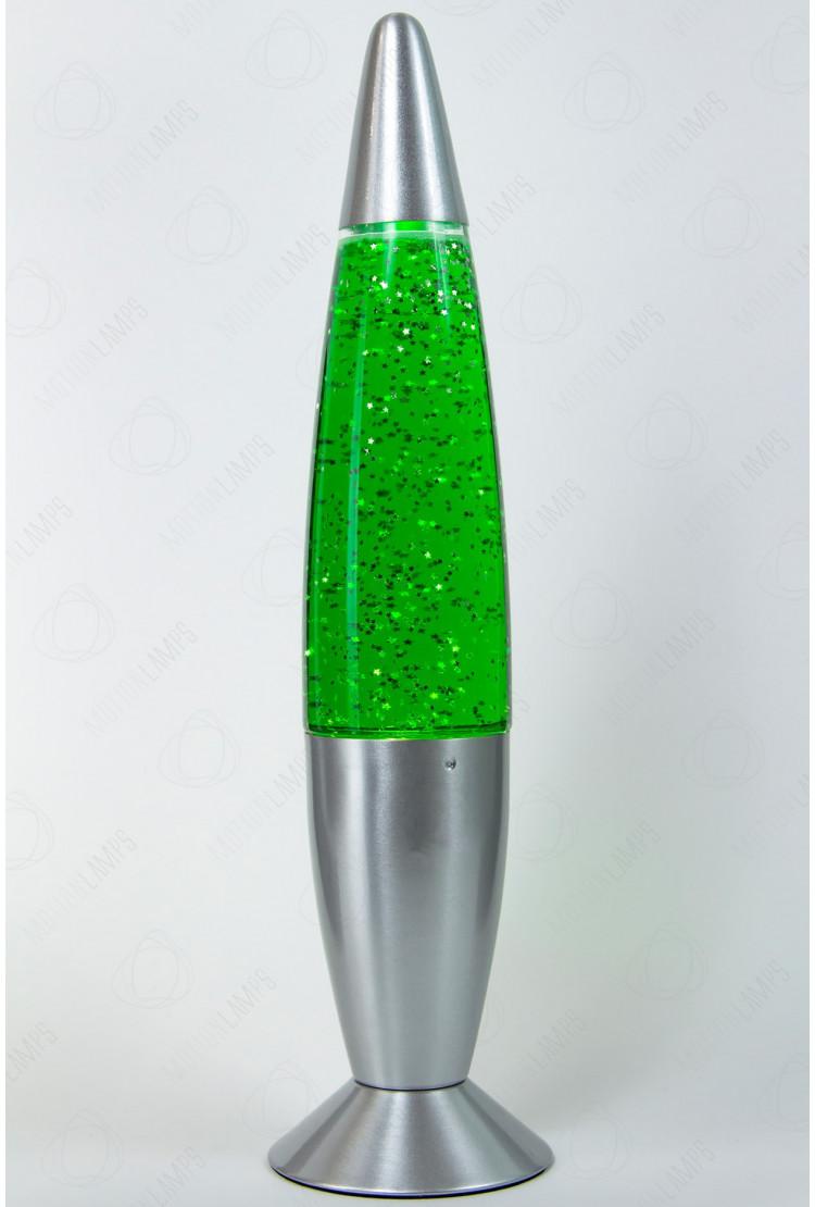 Лава-лампа 48см Зелёная/Блёстки (Глиттер)