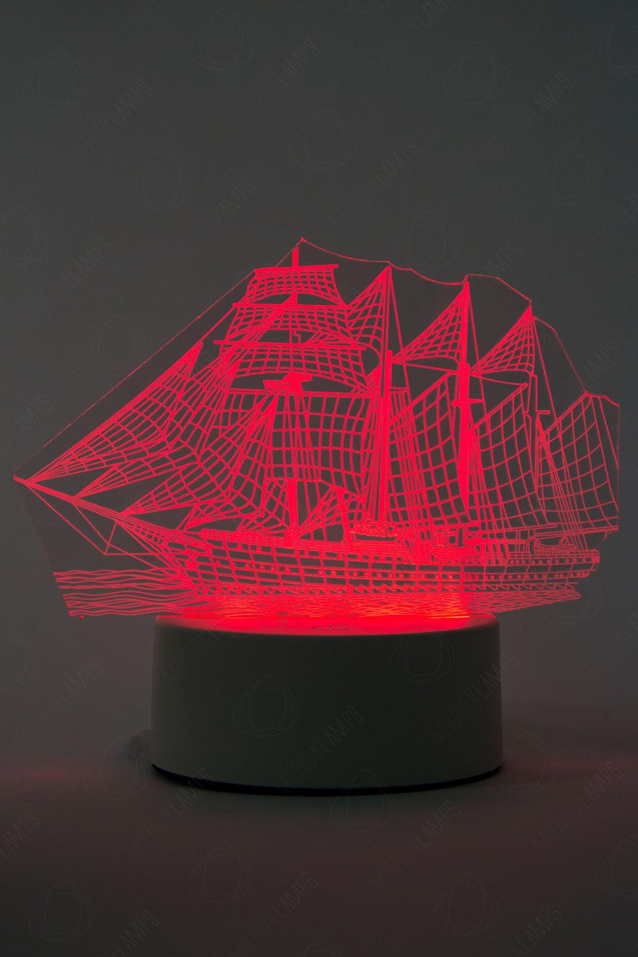 """Светодиодный 3D светильник """"Корабль"""", 3 цвета - 2"""