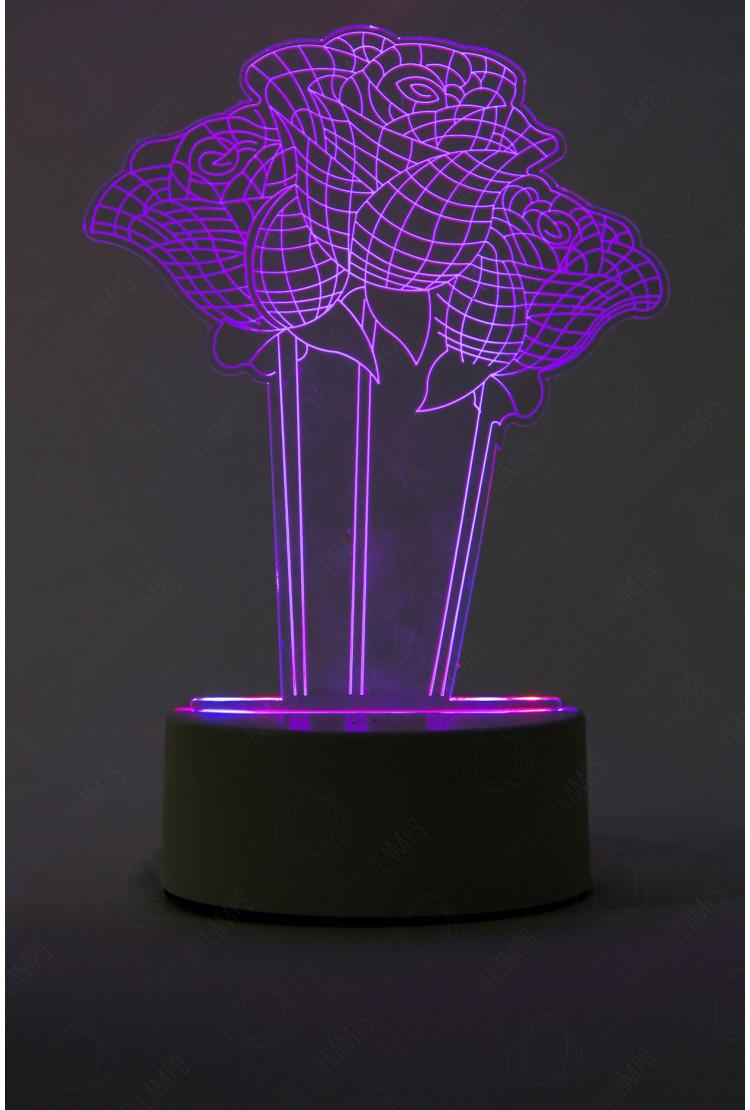3D светильник Розы 3 шт 3 цвета