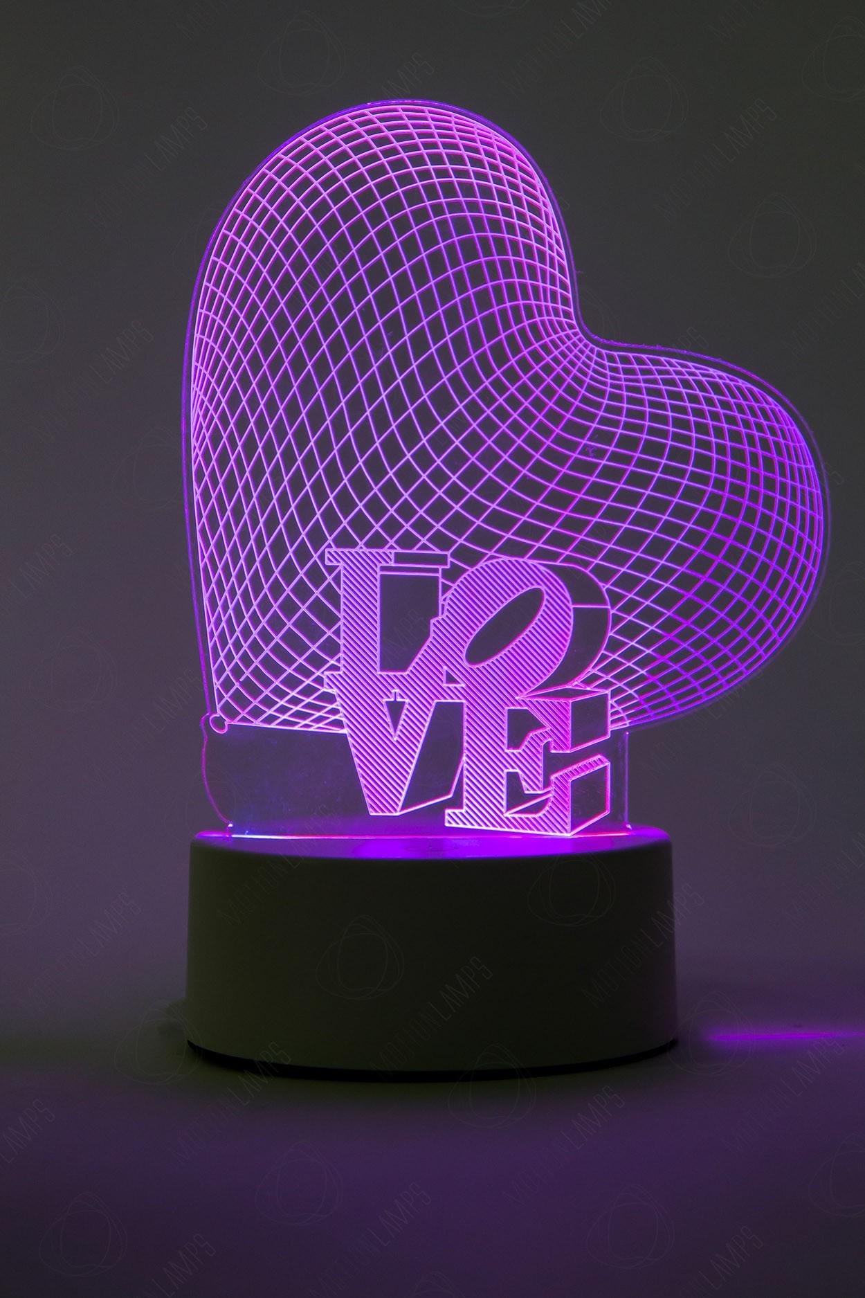 3D светильник Сердце 3 цвета