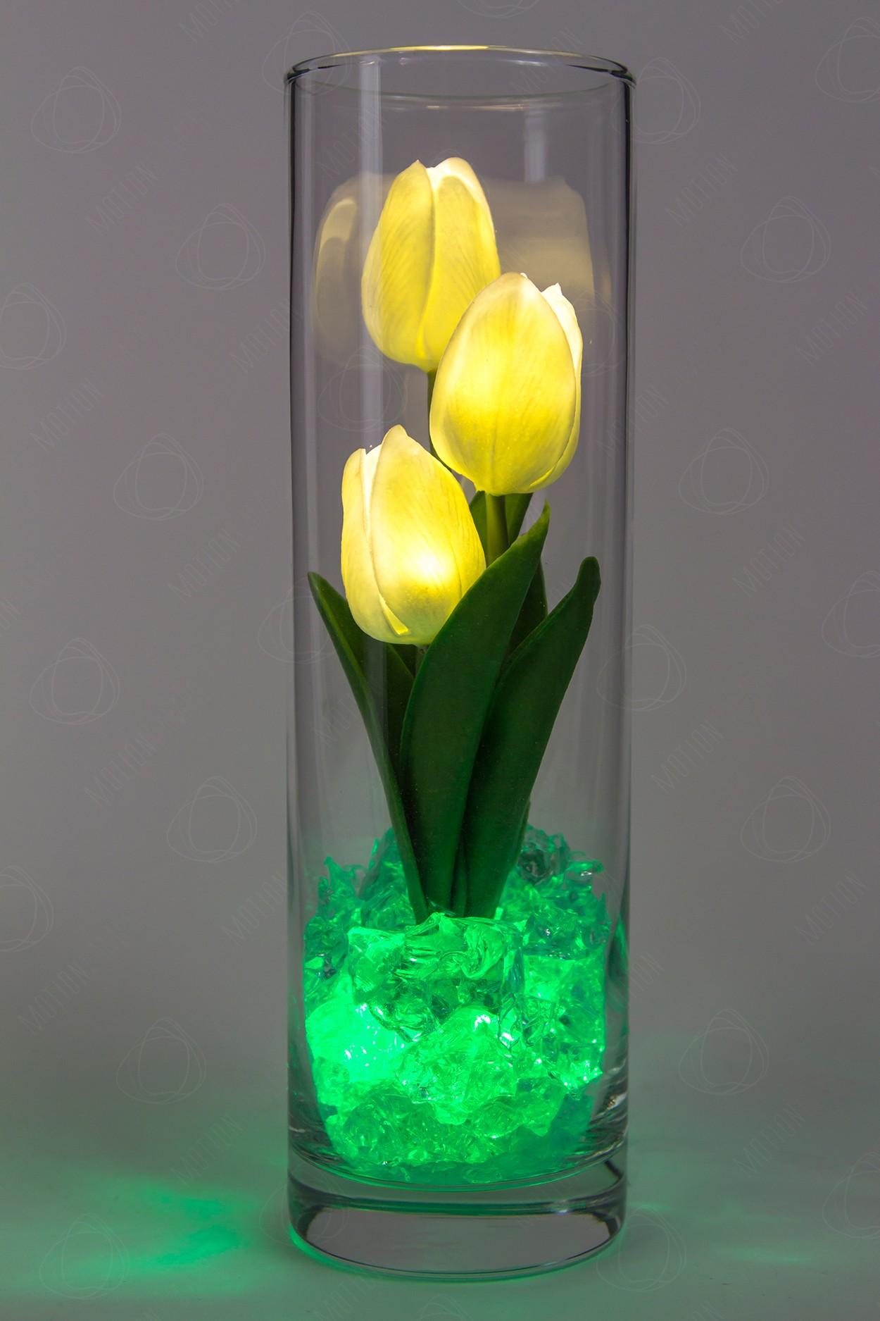 Светодиодные тюльпаны 3шт Белые(зел)