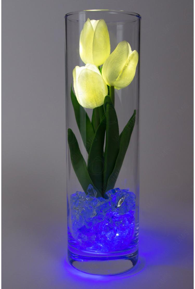 Светодиодные цветы тюльпаны 3шт Белые(син)