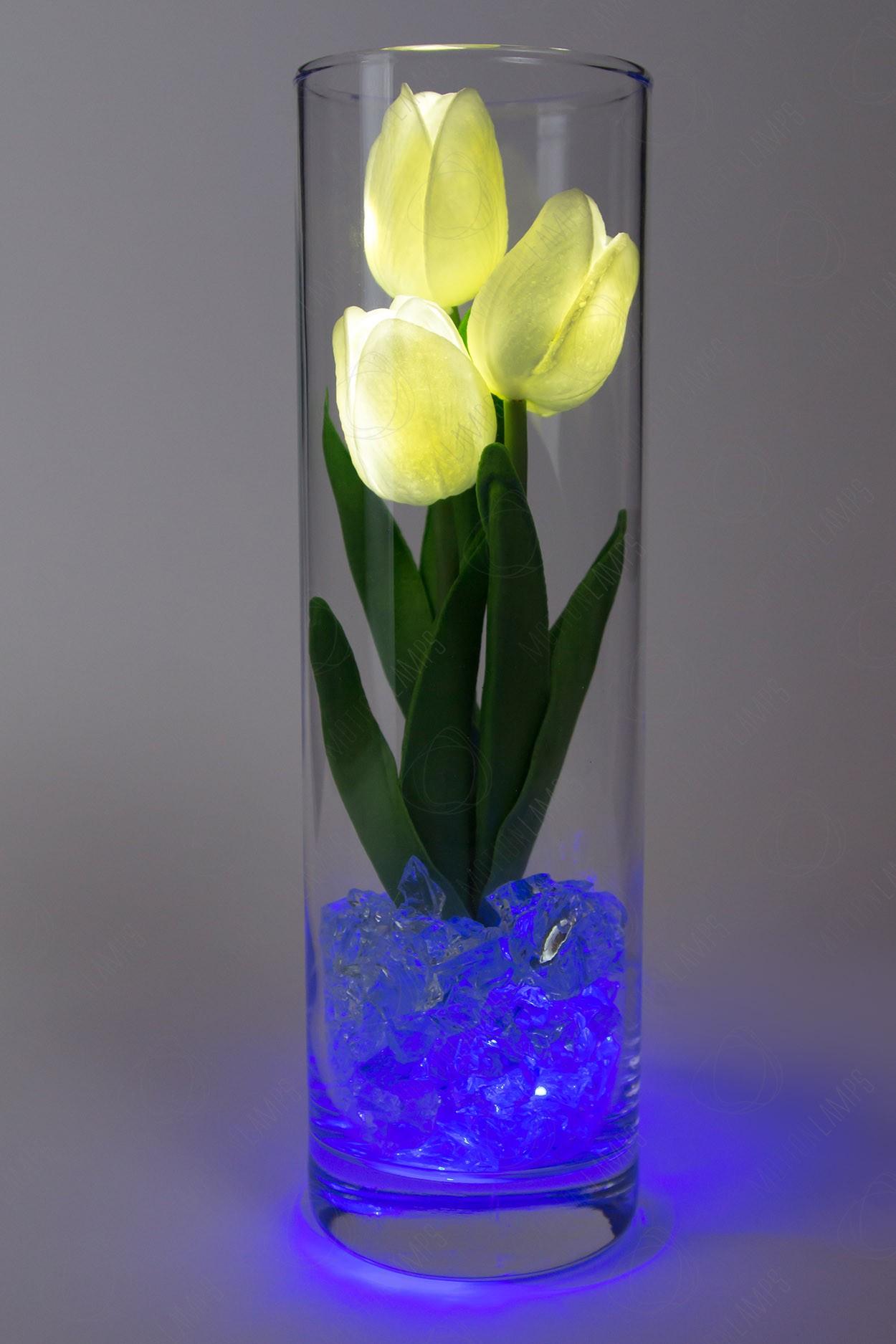 Ночник тюльпаны 3шт Белые(син)