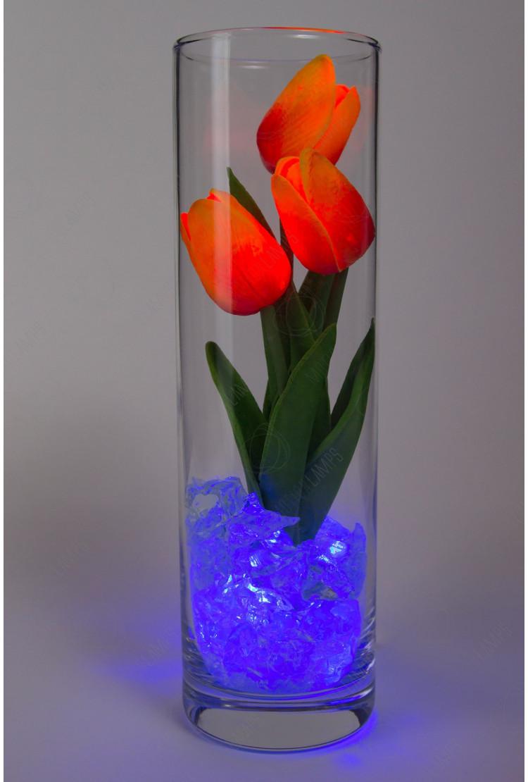 Светодиодные тюльпаны 3шт Оранжевые(син)