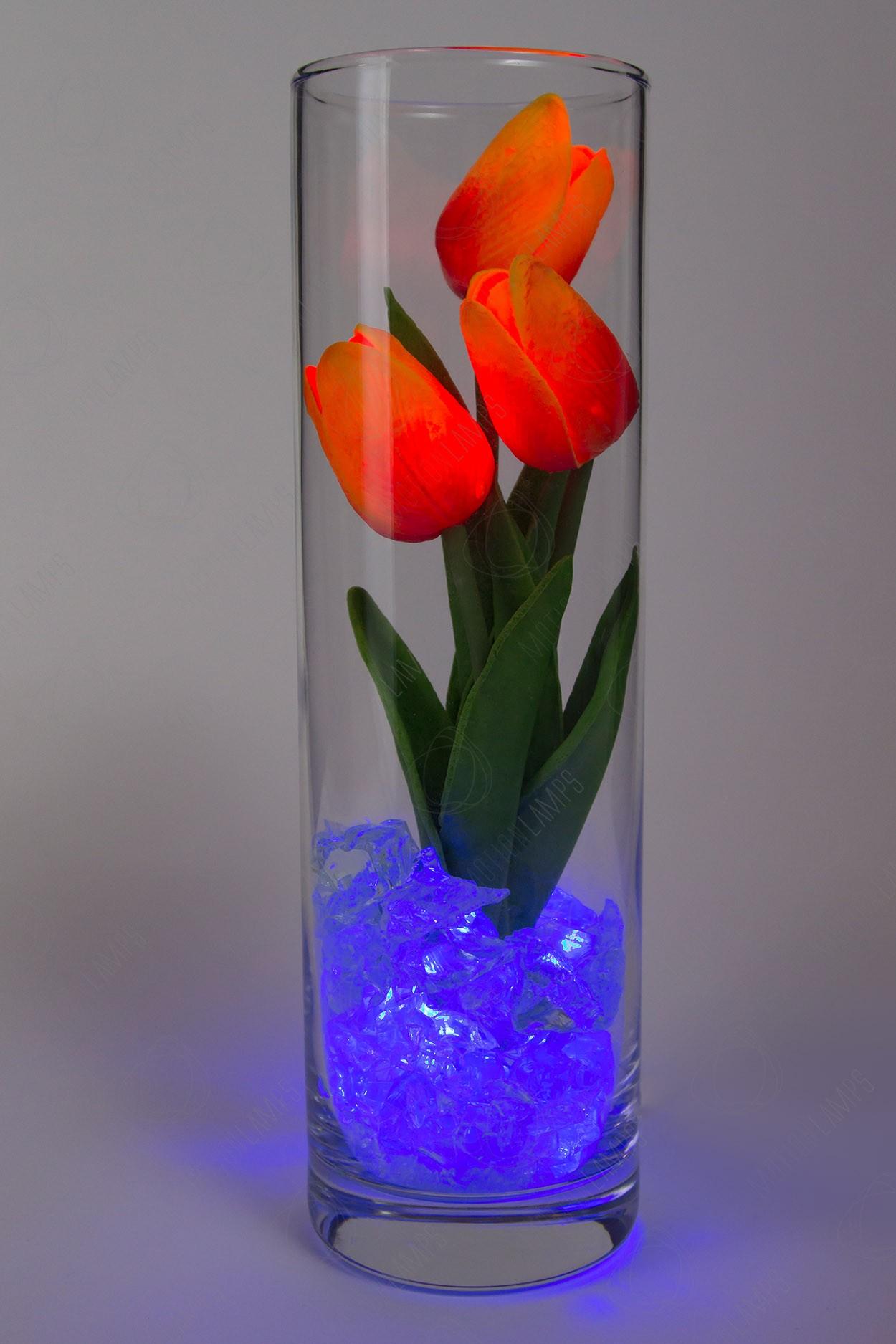 Светодиодные тюльпаны 3шт Красно-Оранжевые(син)