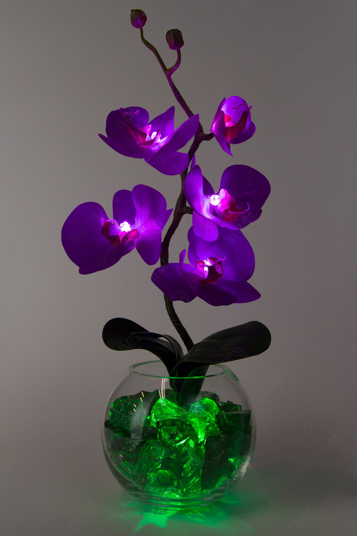 Светильник Орхидея фиолетовый(зел) 5 цветков