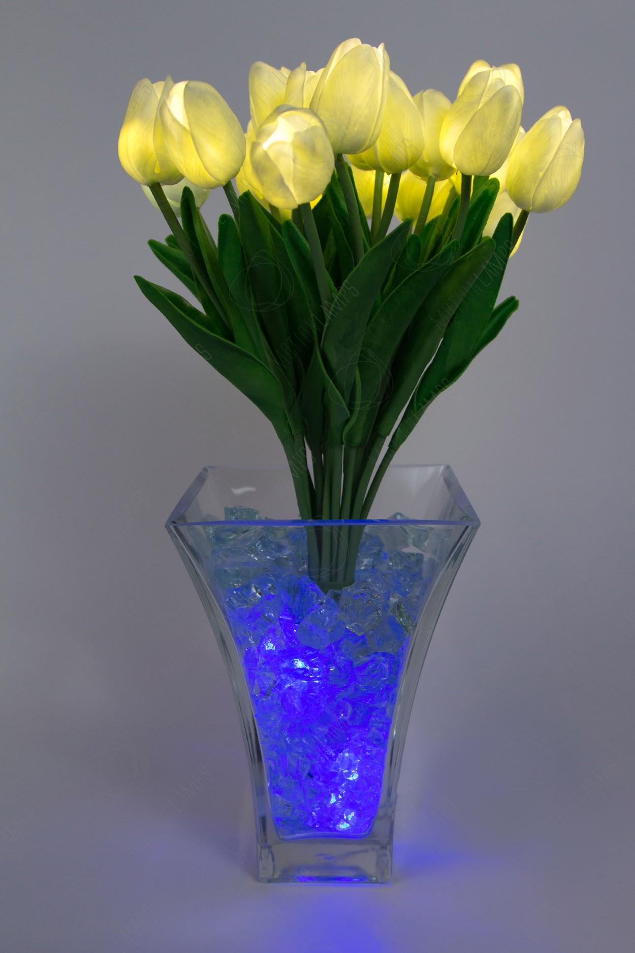 Светодиодные тюльпаны 21шт.  Белые(син)
