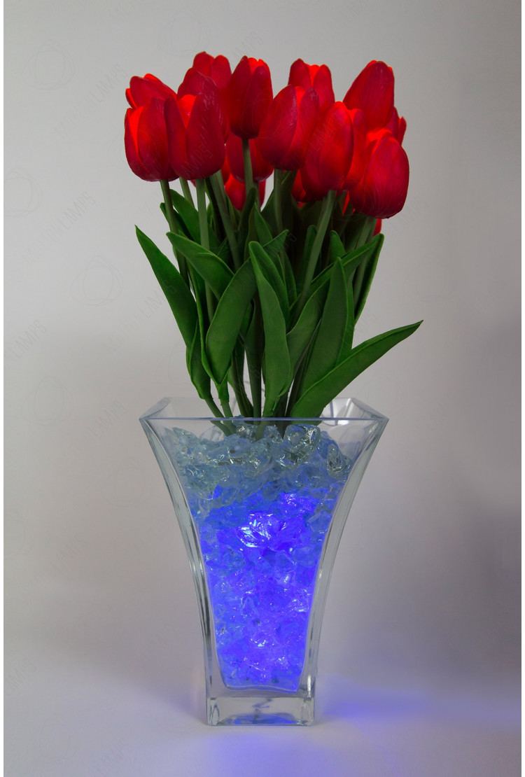 Светящиеся цветы тюльпаны 21шт  Красный(син)