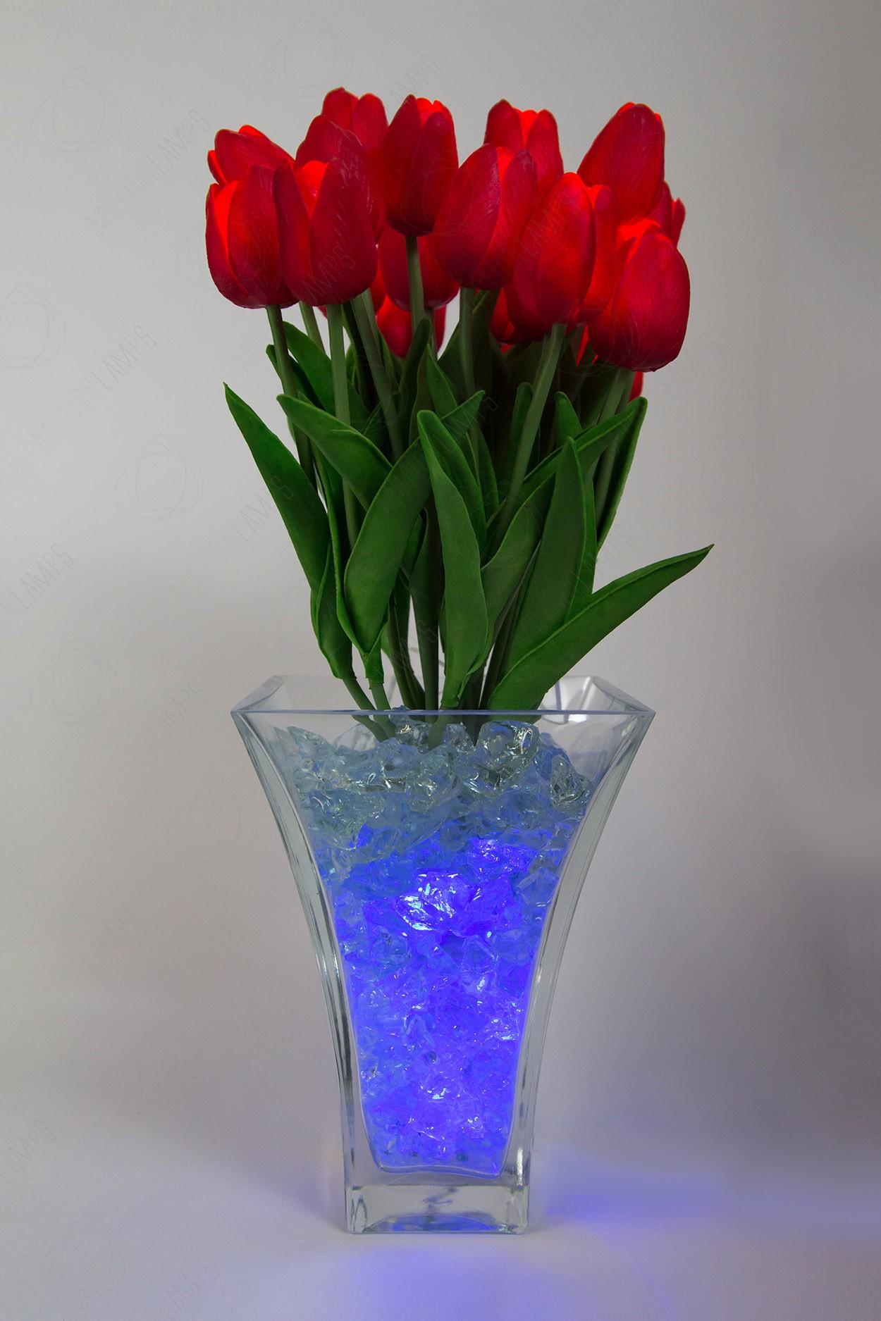 Ночник светящиеся цветы тюльпаны 21шт  Красный(син)