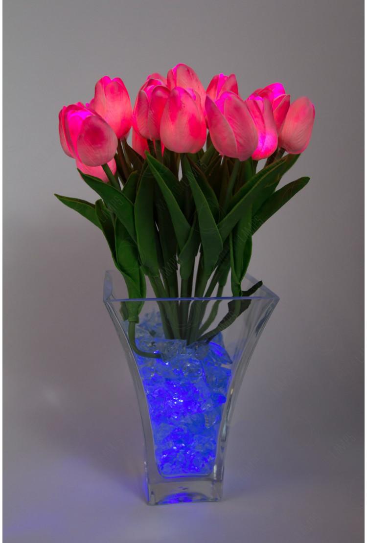 Светящиеся цветы тюльпаны 21шт  Розовые(син)
