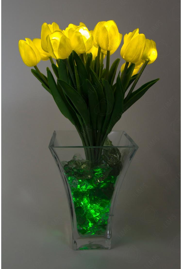Светящиеся цветы тюльпаны 21шт  Желтые(зел)