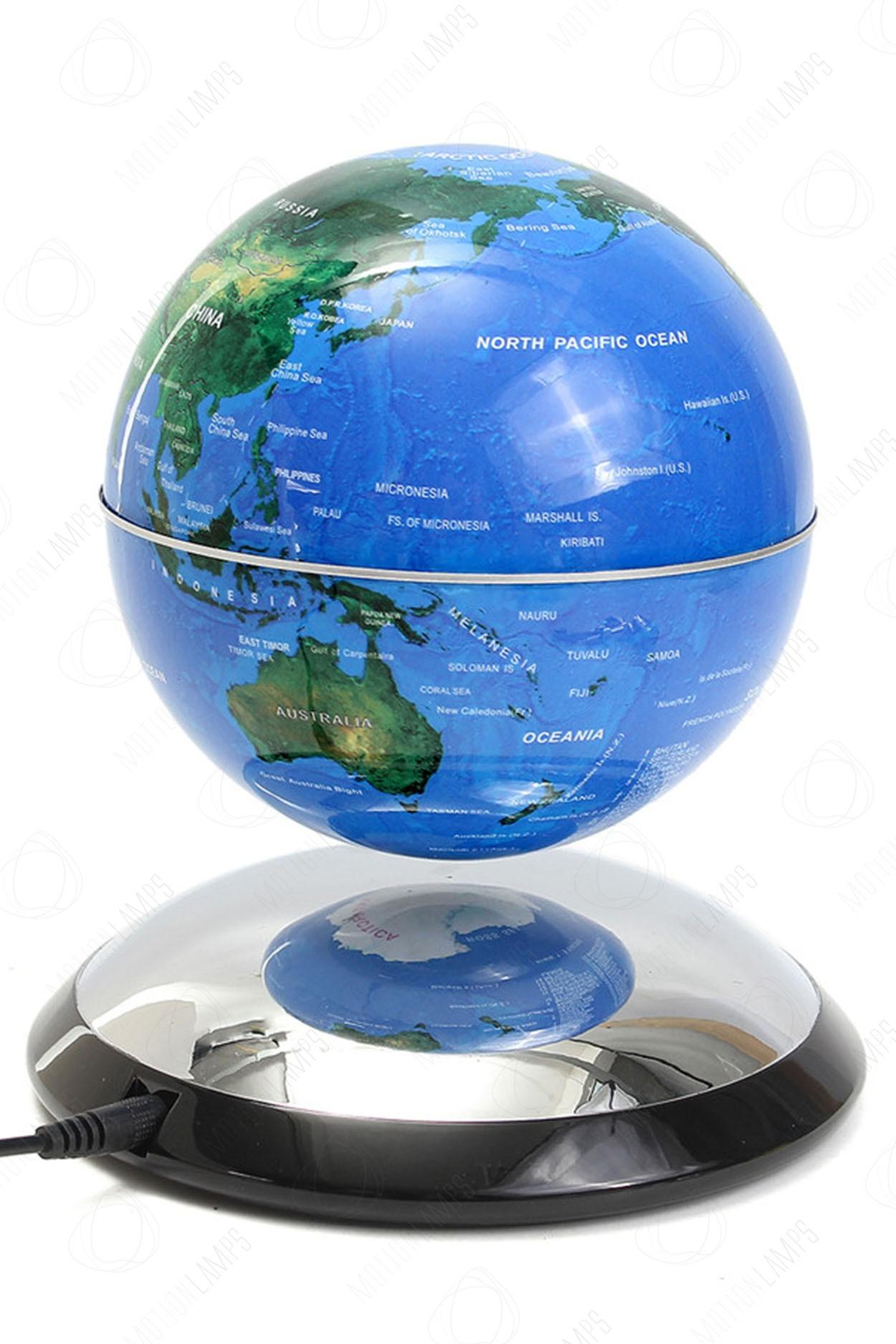 Летающий глобус на зеркальной подставке Голубой (D-14см)