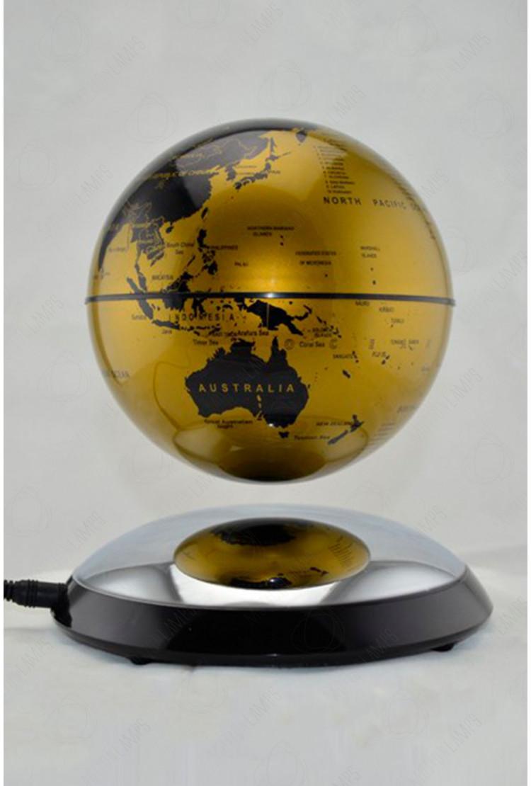 Левитирующий глобус на зеркальной подставке Золотой (D-14см)