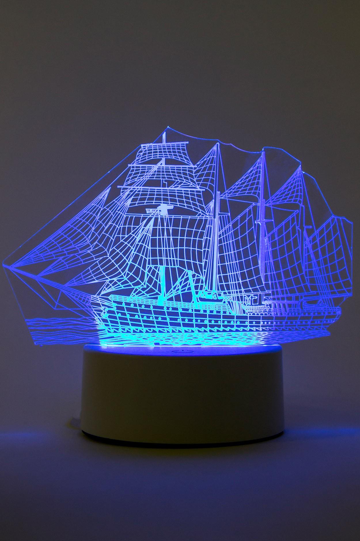 Светодиодный 3D светильник Корабль 3 цвета