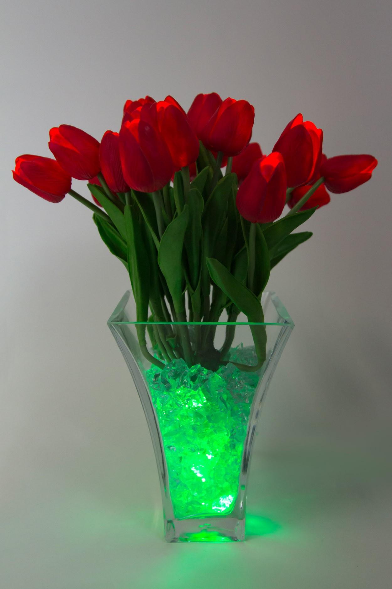 Светящиеся цветы тюльпаны 21шт  Красные(зел)