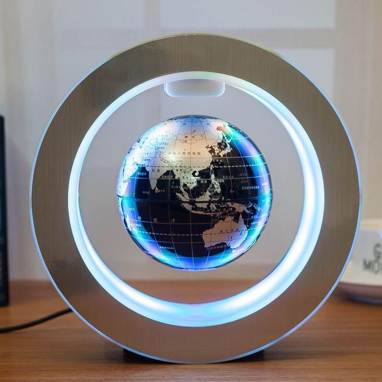 Левитирующий глобус в круглой рамке (D-14см) Золотой