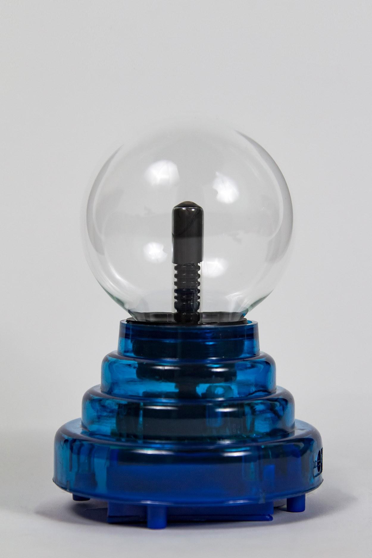 Плазменный шар на батарейках синий Аудио (D - 8см) (USB)