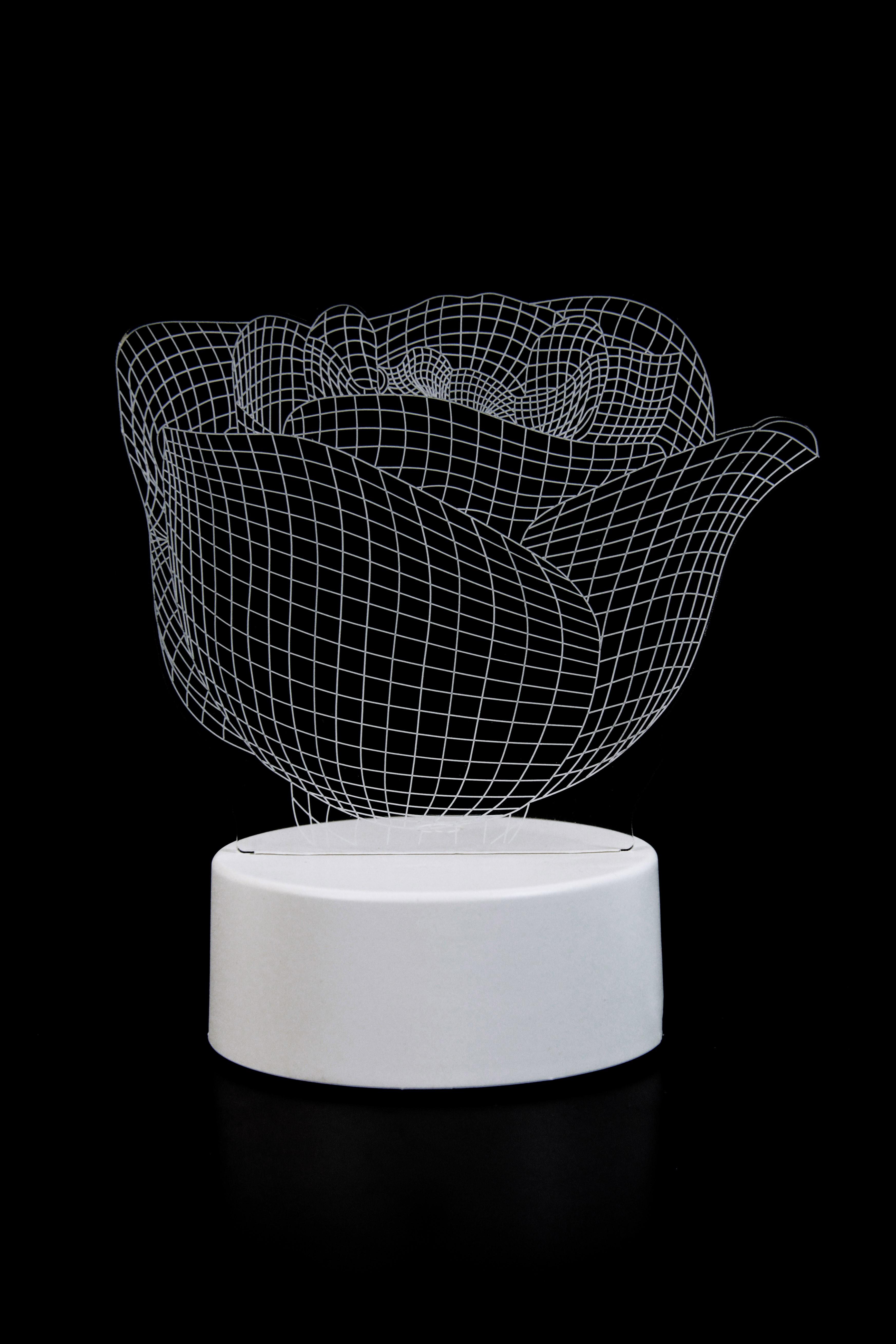 3D светильник Розы в вазе 3 цвета