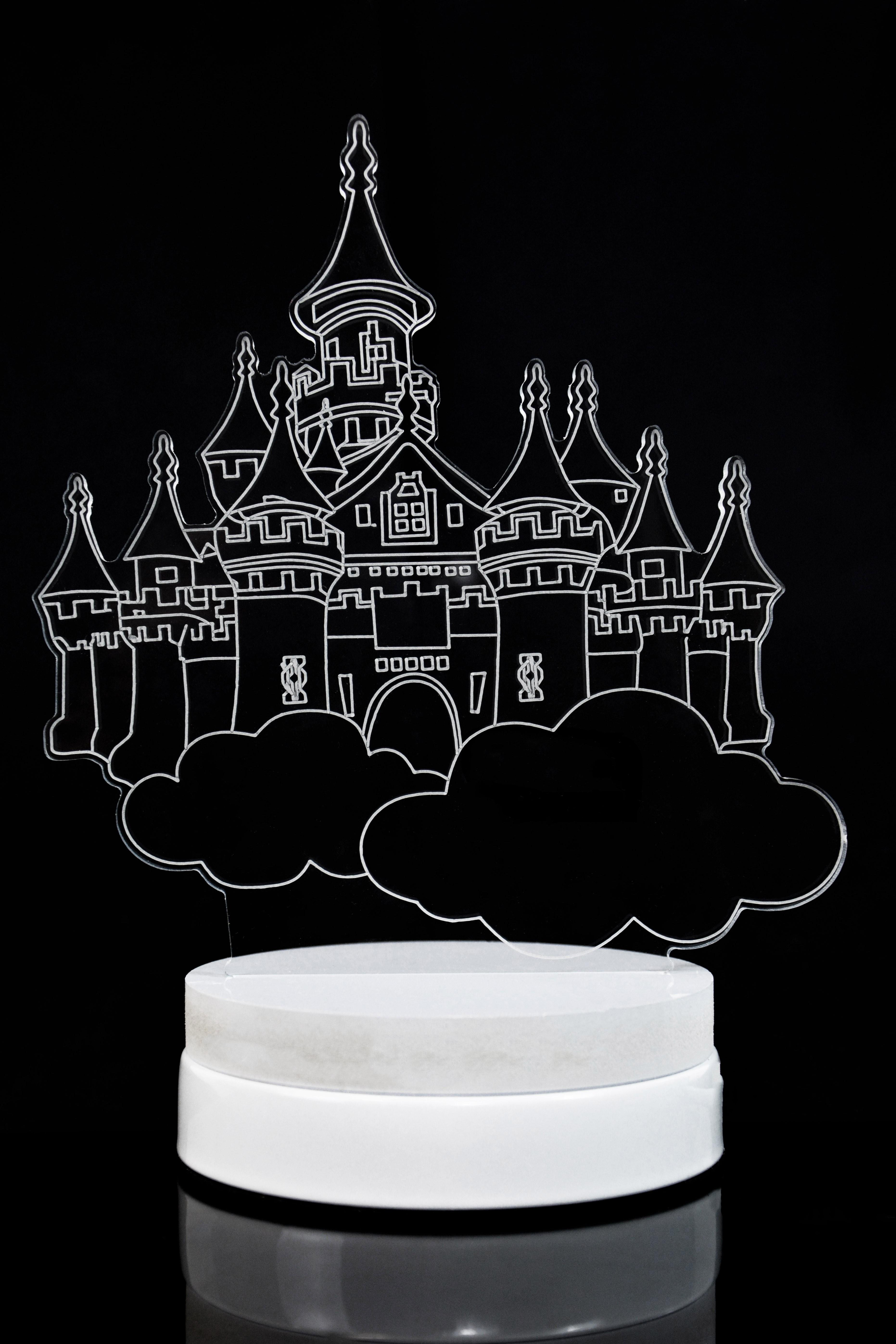 Светодиодная 3D лампа Облачный замок 3 цвета