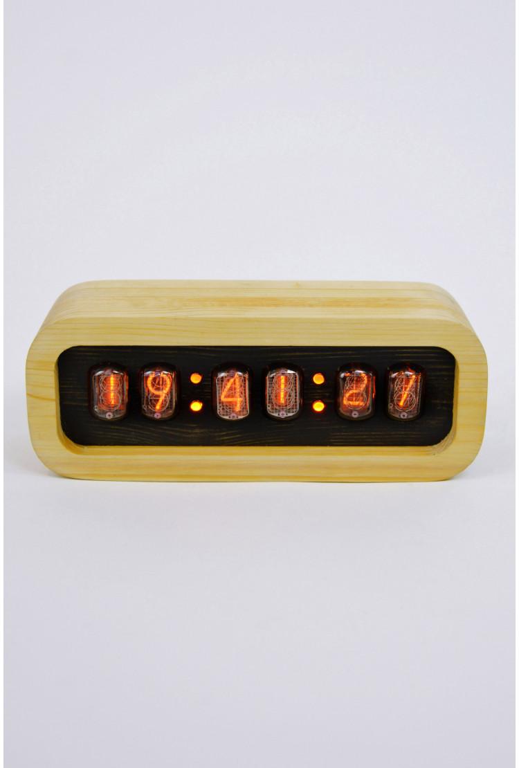Ламповые ретро часы - деревянные (светлые/темные)