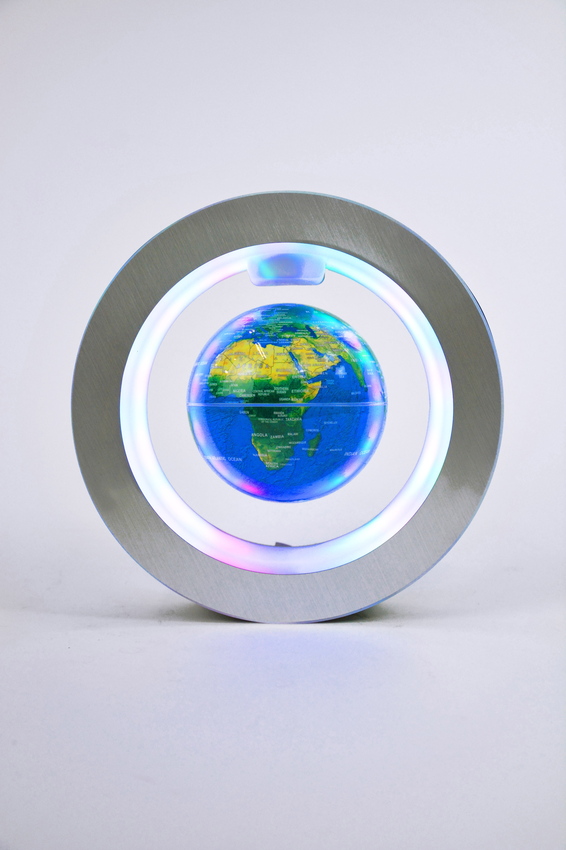 Левитирующий глобус в круглой рамке (D-10см) Голубой