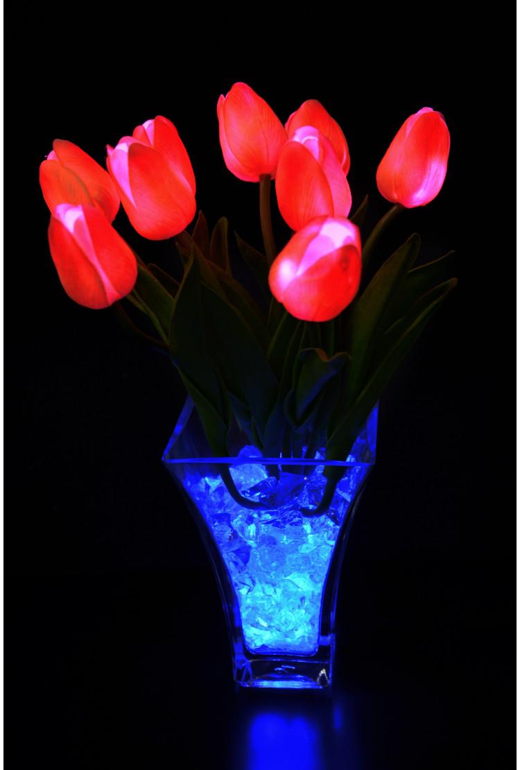 Ночник тюльпаны 9 шт Розовые(син)