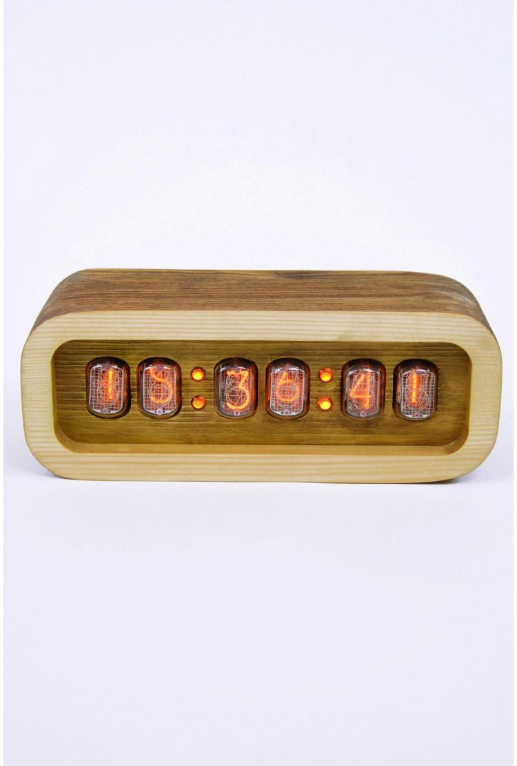 Ламповые ретро часы - деревянные (молочный шоколад)