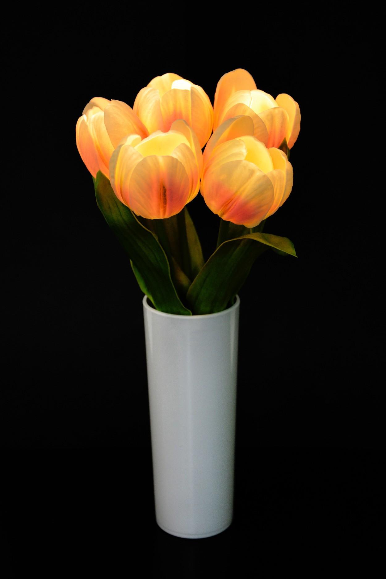 Светодиодные цветы Тюльпаны (кремовые)