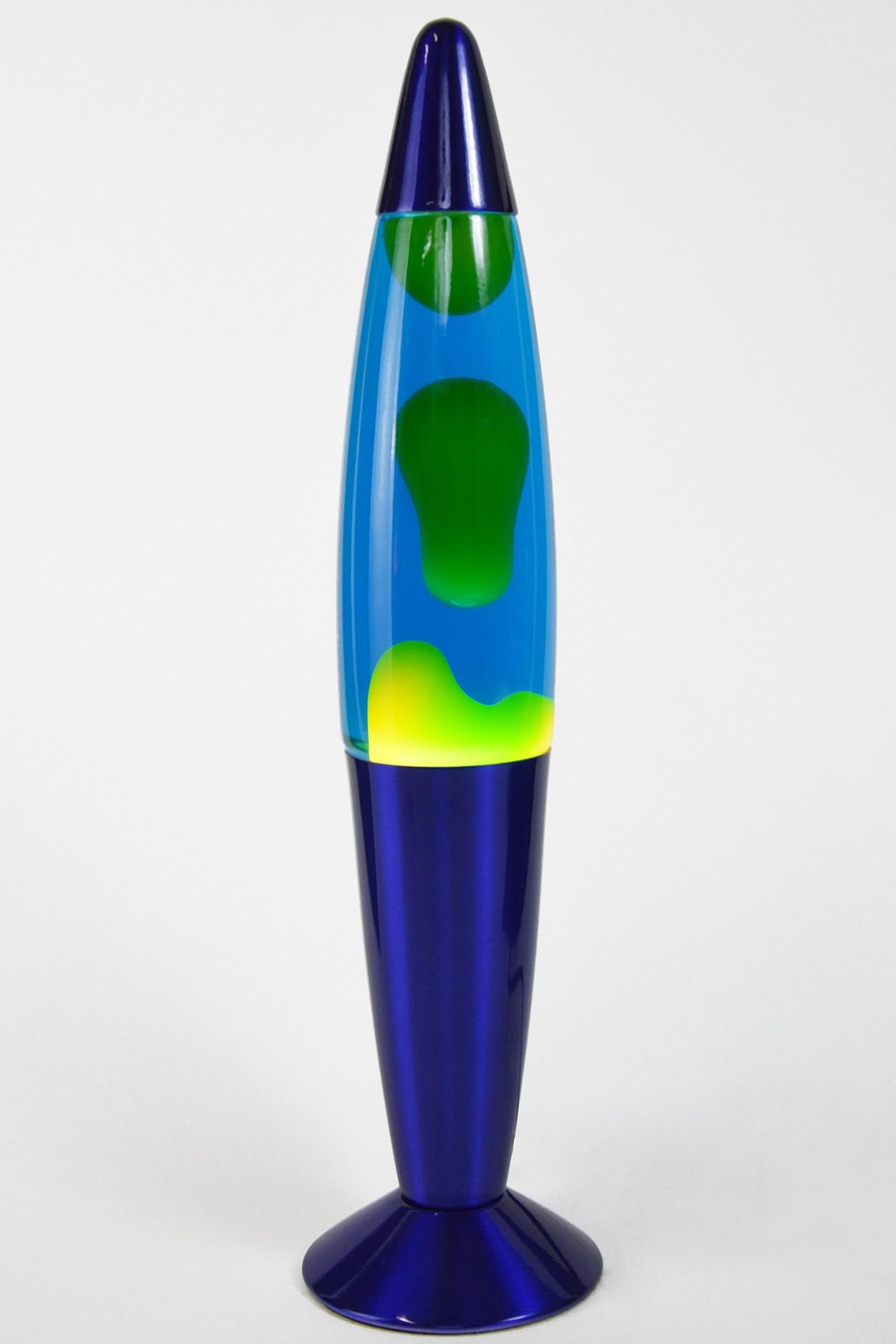 Лава-лампа 35см Хром (С) Желтая/Синяя (Воск)