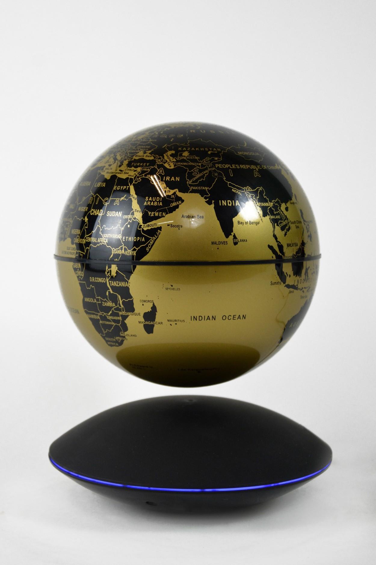Глобус на магнитной подушке золотой (D-14см)