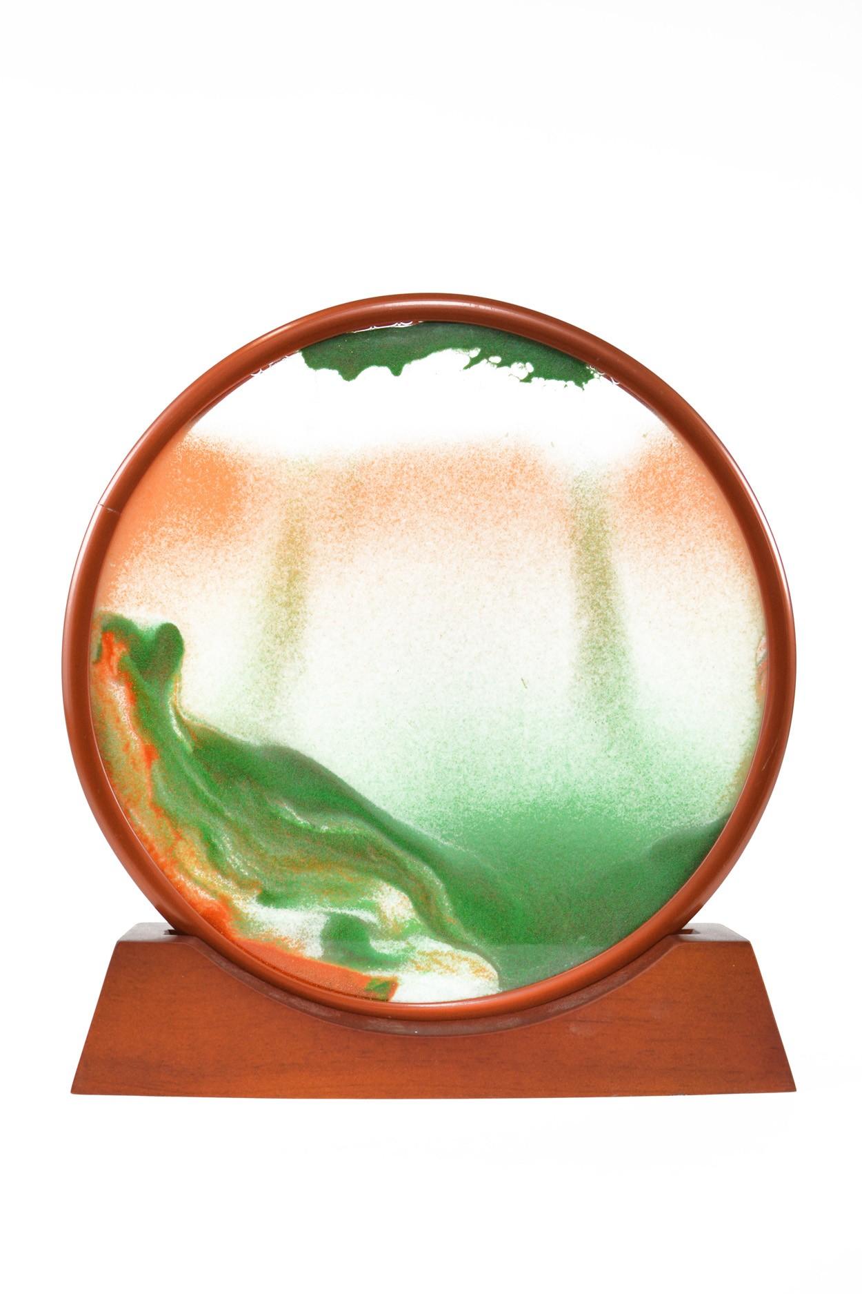 """Песочная картина """"Живой пейзаж"""" круглая D27 зелёная"""